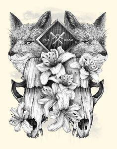 Fox Dead #fox #alexandre #sword #dead #skull #flowers