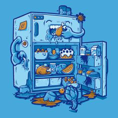 Must be printed #hunger #junk #eating #fridge #illustration #blue #nom