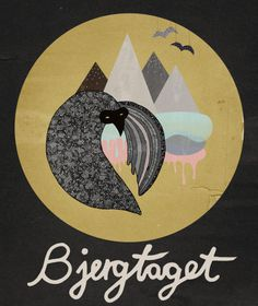 michelle carlslund illustraiton: Bjergtaget #clouds #mountaind #handlettering #nordic #sky #yellow #danish #black #bird #cover #illustration #fly #scandinavian #poster #music #cd #bjergtaget #moon