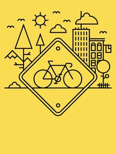 alexlikesdesign | Life in the Bike Lane | Online Store Powered by Storenvy #yellow #black #bike #alex griendling #bike lane