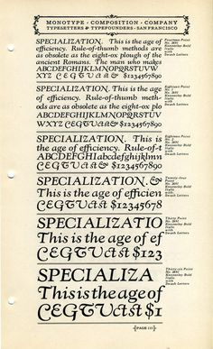 Monotype Kennerley type specimen