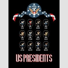 8 bit Presidents Poster featuring 12 popular presidents #donkey #history #nintendo #kong #american #president