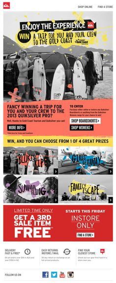 Quiksilver - WIN a Trip for You & Your Crew to the Gold Coast! #surf #mailer #newsletter #coast #emailer #subscribe #quicksliver