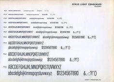 Venus Light Condensed font specimen. #type #specimen #typography