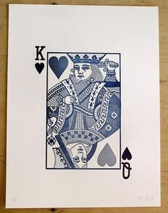 'Who's in Charge?' - essie letterpress #print #heart #letterpress #blue #monotone #cards #card #king