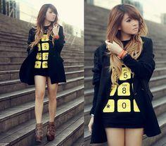 Telephone Pattern Printed Shirt, Oversized Blazer, Jeffrey Campbell Wrecker Boots #fashion #woman #beauty