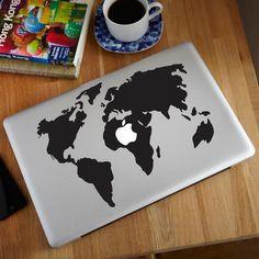 World Map MacBook Decal #tech #flow #gadget #gift #ideas #cool