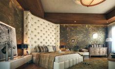 Luxury bedroom with artsistic large paining