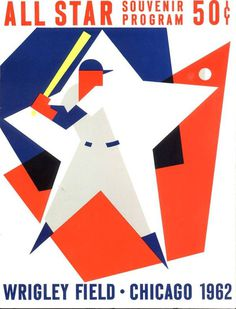 Cubs 1962 All Star Game Scorecard #program #illustration #star #baseball #wrigley #cubs