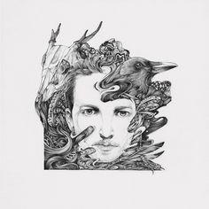RAWZ #illustration #sketch #drawing #ink #crow #skull #portrait #collage