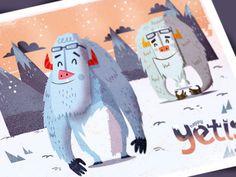 Happy Yetis (final) #illustratons #design #character #yetis