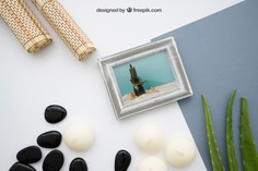 Zen mockup with frame Free Psd. See more inspiration related to Frame, Mockup, Template, Beauty, Spa, Health, Photo frame, Yoga, Photo, Mock up, Decoration, Beauty salon, Body, Natural, Bamboo, Healthy, Decorative, Salon, Relax, Care, Wellness, Zen, Candles, Up, Health care, Therapy, Stones, Hygiene, Calm, Treatment, Relaxation, Relaxing, Mock, Massages and Therapeutic on Freepik.