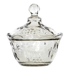Gilderoy Smoke Glass Lidded Compote