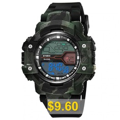 SYNOKE #Man #Military #Camouflage #Outdoor #Sports #LED #Electronic #Watches #- #CAMOUFLAGE #GREEN