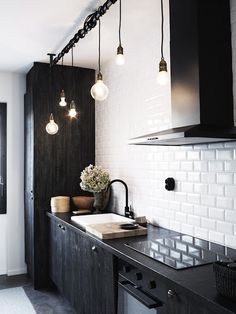 Modern Man #bulbs #white #black #kitchen #minimal #and