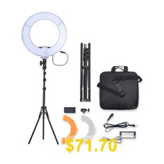 Bi-Color #LED #Ring #Light #Video #Photography #Camera #Phone #Fill #Lamp #with #Stand #- #BLACK