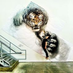 Animal Murals by Fiona Tang Appear to Leap from Gallery Walls #inspiration #wall #art #street #murals