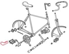 The Bike Stylist #illustration #line #technical #exploded #bike #bicycle