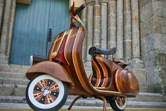 A Loving Father Crafts A Wooden Vespa Scooter For His Daughter DesignTAXI.com #wood #vespa #craftsmanship