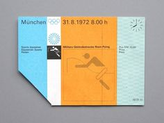 Otl Aicher 1972 Munich Olympics - Tickets #print #graphic design #design #typography #1972 #olympics #otl aicher #ticket