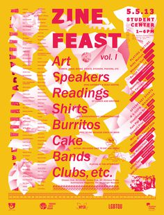 Zine Feast Poster Designed by Christopher Simon cwsimon.com #silkscreen #zine #design #yellow #feast #hiearchy #grid #poster #paper #awesome #typography