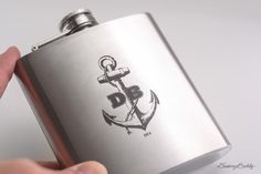 Personalized Anchor Flask with Initials Custom 6oz or 8oz Liquor Hip Flask #flask #boat #flasks #marine #anchor #fishing #nautical