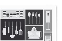 Kitchen Utensils #poster #black and white #kitchen