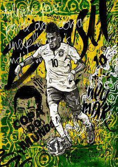 World Cup Illustration -Neymar/Brazil #pattern #ball #pele #soccer #logo #neymar #brasil #poster #type #football