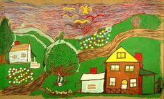 Outsider Folk Art Gallery - Outsider Art | Floretta Emma Warfel | WAF003 | #painting #naive #art