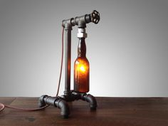 Vintage Industrial Brewery Lamp Faucet Switch Industrial Furniture Pipe Fixture Bar Decor Steampunk #lamp #recycle #resuse #bottle #industrial #vintage #pipe