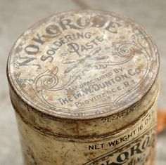 Vintage Nokorode Soldering Paste Can #nokorode #packaging #soldering #vintage #can #typography