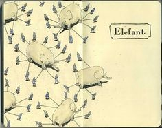 Moleskine Sketches by Mattias Adolfsson | Best Bookmarks #moleskine #sketch #elephant