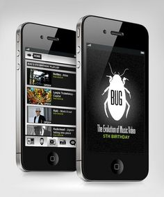 Interactive - BUG Music Videos App - websitesarelovely - Neil Richards - Freelance Digital Designer #design #iphone #app #music #graphics #videos