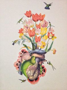 """love like nectar"" cut paper anatomical collage art by bedelgeuse #anatomy #bedelgeuse #art #collage #flowers"
