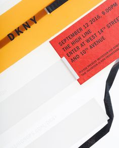 A detail of an invitation to a fashion show that happened last year to present fashion that happened this year. DKNY's Spring 17 show invita #workbycommissionstudio