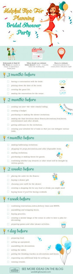 helpful tips for bridal shower party infographics
