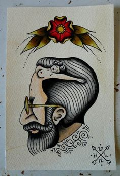 //Hannah Clark// #freud #illustration #tattoo #double #painting #beautiful