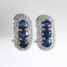 Pair of delicate sapphire and diamond earrings