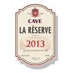 Wine label bar tab, year changes on each label. At Cave wine Bar, conrad Hotel, UAE