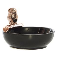 Challimont Black Ceramic Bowl w Bronze Owl