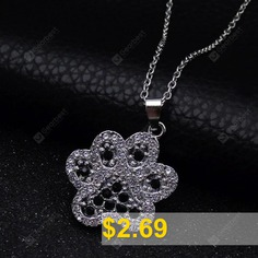 Studded #Rhinestone #Puppy #Paw #Pendant #Chain #Necklace #- #SILVER