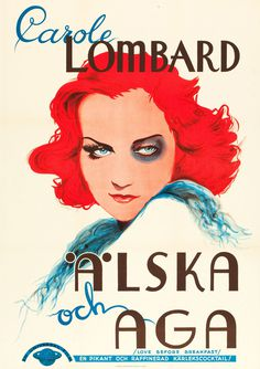 Swedish posters for 30 international films, c. 1921–1939 - Fula Fiskar - 50 Watts #woman #design #swedish #illustration #vintage #poster #alska #lady #beauty