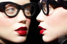 Sara Lindholm - galeylovesluap: Judith Bedard by Gabor Jurina... #fashion #eyewear #lipstick