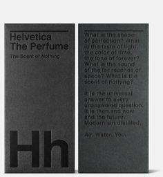Helvetica the Perfume #helvetica #packaging #letterpress #perfume #black on black