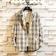 Winter Preppy Style Brand Cotton Plaid Casual Shirt Male Fashion Autumn Long Sleeve Tops Streetwear Japanese Shirts Men
