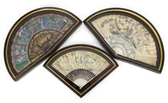 Two finely painted fan with ivory ribs and a lacquer trays with figure painting