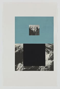 "Screen (mountain stream), Gouache on archival pigment print, 2011, 40"" x 26"" #collage"
