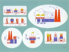 Building Blocks Kit / 1943 #print #design #graphic #town #block #illustration #1943 #kids #factory #toy