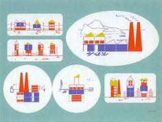 Building Blocks Kit / 1943 #print #design #graphic #town #block #illustration #kids #factory #toy