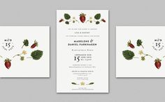 Wedding Invitation, by Cecilia Hedin #invitation #print #strawberry #flower #wedding